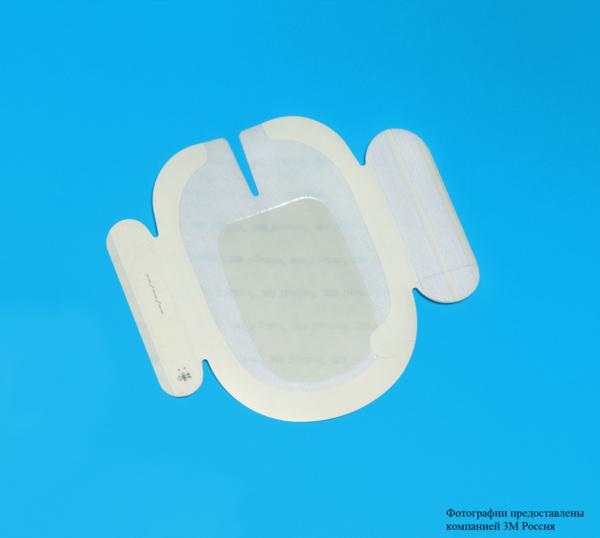 Пленочная прозрачная наклейка 3М™ Tegaderm ® (Тегадерм), 10 x 15,5 см, U-образный вырез, усиливающая окантовка 1650