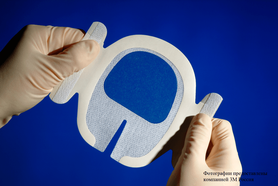 Пленочная прозрачная наклейка 3М™ Tegaderm ® (Тегадерм) U-образный вырез, усиливающая окантовка 1655